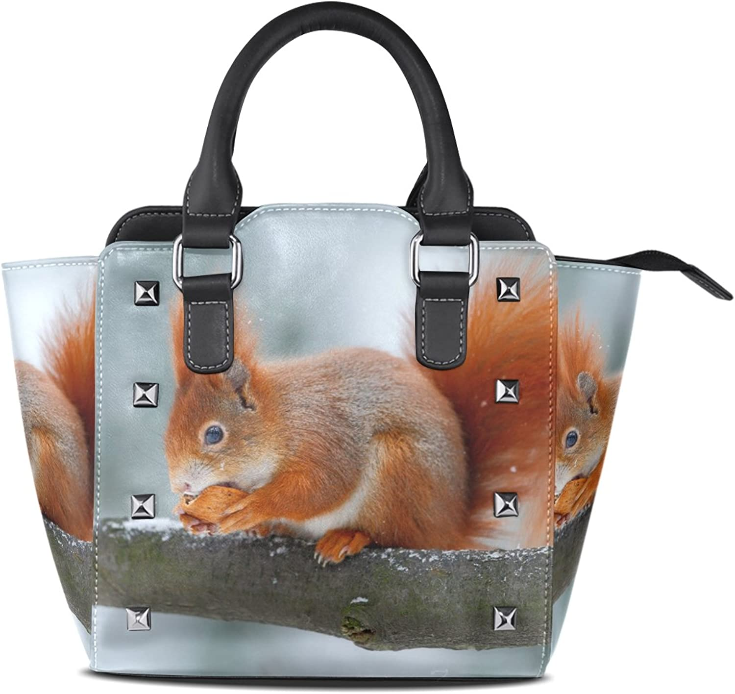 Sunlome Cute orange Red Squirrel Print Handbags Women's PU Leather Top-Handle Shoulder Bags