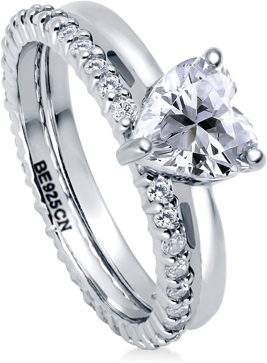 BERRICLE Rhodium Plated Sterling Silver Cubic Outlet ☆ Free Shipping CZ Limited price Heart Zirconia