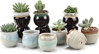 T4U Small Ceramic Succulent Planter Pots with Drainage Hole Set of 12, Sagging Glazed..