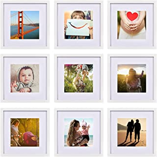 FRAMICS 9 Pack 12x12 Picture Frames, Display 8x8 Photo with Picture Mat, White Picture Frames Made of Solid Wood for Wall ...