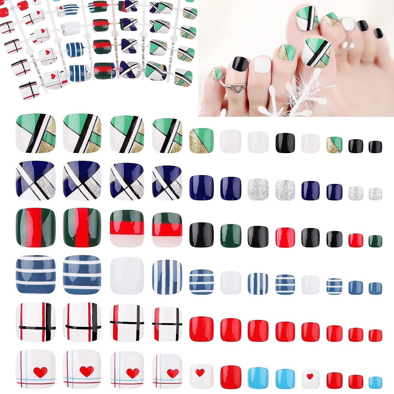 144Pieces Short Square Financial sales sale Fake Toenails Arti 6 Colorful A surprise price is realized Sets EBANKU
