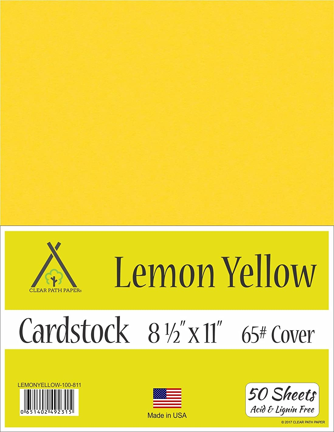 Lemon Yellow Cardstock - 8.5 x 11 inch - 65Lb Cover - 50 Sheets