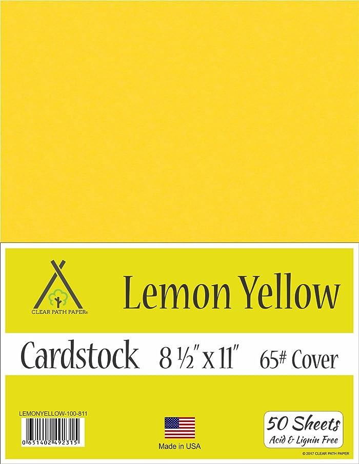 Lemon Yellow Cardstock - 8.5 x 11 inch - 65Lb Cover - 50 Sheets