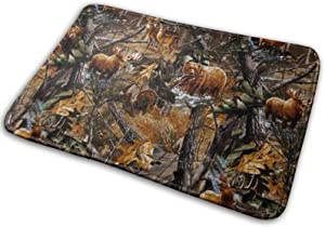 Memory Foam Flannel Bath Mat Camo Hunting Deer Bear Moose Turkey Duck Ultra Soft Non Slip Absorbent Thick Durable Floor Carpet for Kitchen Shower 16W X 24L Inches