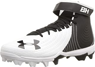 Under Armour Men's Harper 4 Mid RM Baseball Shoe, White (100)/Black, 11.5