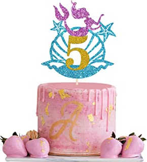 Pink and Blue Happy 5th Mermaid Cake Topper, Mermaid Sign, Hello 5, Ocean / Under The Sea Themed, Cute Birthday Party Supp...