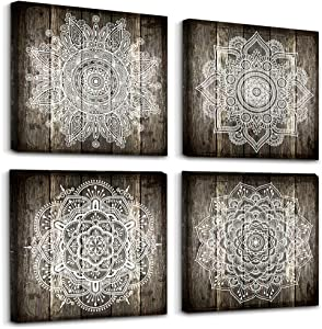Canvas Wall Art For Bedroom Wall Decor For Living Room Black And White Abstract Paintings Modern 4 Piece Framed Retro Pattern Canvas Art Bathroom Prints Ready To Hang Pictures For Home Decorations