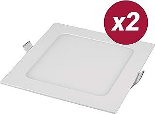 POPP- Pack 2 Downlight LED Extraplano Cuadrado Blanco,chip OSRAM Iluminacion LED Plafón de Techo (6000K, 9W)