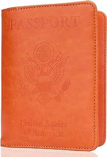 Art Butterfly Genuine Leather Passport Holder Wallet Case Cover for Men Women