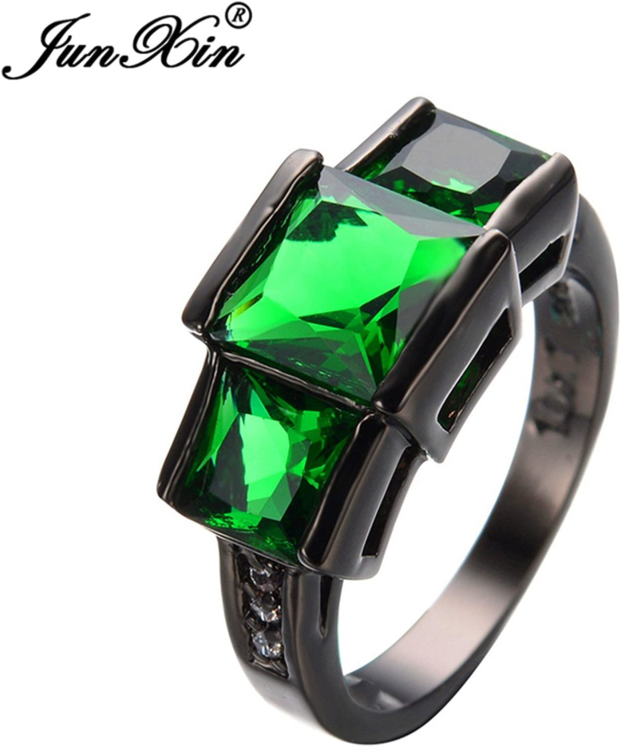 Slyq Jewelry Green Zircon Stone Ring Black gold Filled Antique Jewelry Wedding Party Finger Ring Birthday Gift
