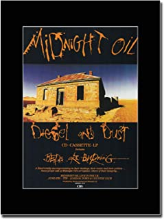 gasolinerainbows - Midnight Oil - Diesel & Dust - Matted Mounted Magazine Promotional Artwork on a Black Mount