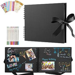 Album photo à personnaliser - 80 pages noires - 29 x 21,5 cm - Album photo pour enfant, bébé, album photo pour mariage, fa...