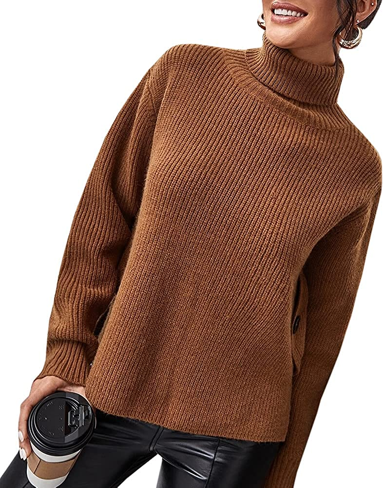 Women's 55% OFF Turtleneck Sweaters Casual Long Solid Sleeve Max 76% OFF Butto Color