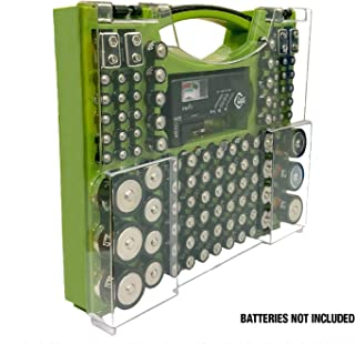 Battery Pro Organizer & Tester, Holds 100 Assorted Batteries - Green
