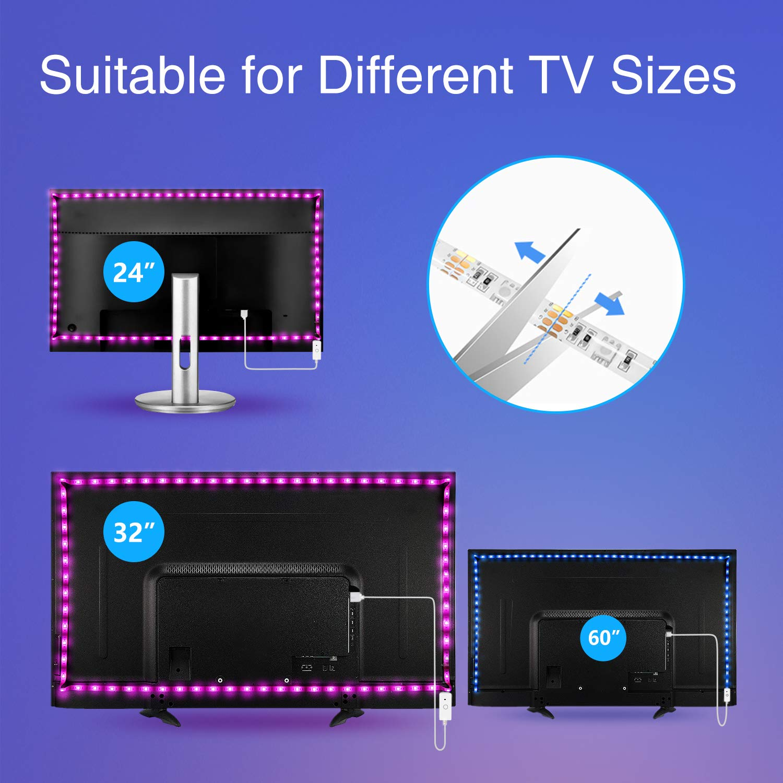 24-60in TV WiFi APP Control Multi-Color RGB Light Strip for PC Laptop Desk TV LED Backlight Music Sync Adapter USB Powered Nitebird 9.2Ft Smart LED Strip Lights Works with Alexa Google Home Siri