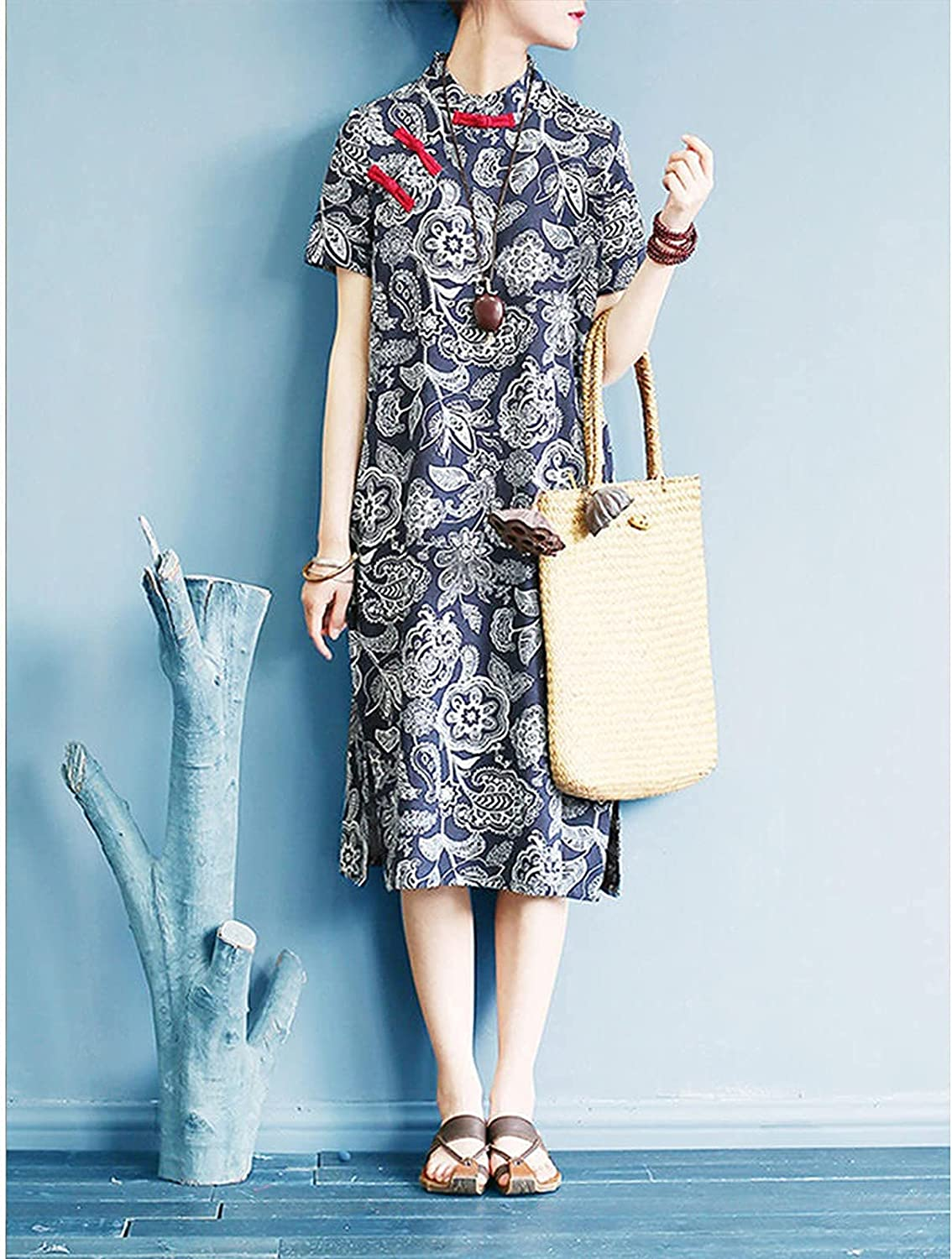 LUXMAX Beautiful Women's Dress is Cool and Comfortable in Summer. It's A Slim and Retro Printed Button Dress. It's Suitable for Any Time - A Fashionable and Simple Women's Top(Size:Large,Color:A)