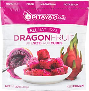 Pitaya Plus, All Natural Dragon Fruit, Frozen Bite Size Fruit Cubes for Nutrient Rich Recipes (8 Count)