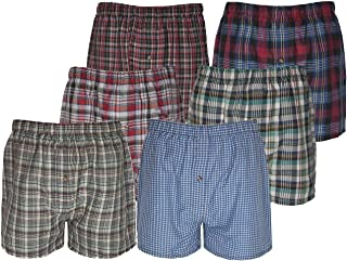 21FASHION Mens Cotton Rich Assorted Woven Check Boxer Shorts Pack of 3 Adults Summer Underwears Short Trunks