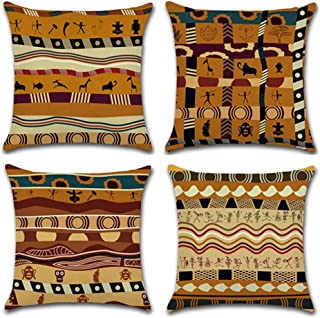 YANGYULU African Pattern Cotton Linen Home Decorative Throw Pillow Case Sofa Cushion Cover 18 x 18 (Set of 4)