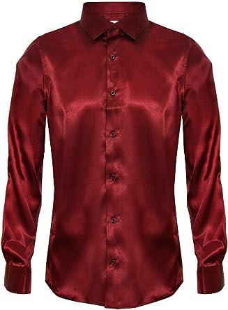 Camisa para Hombre de Raso de Seda de Manga Larga/Elegante Casual. A la Medida