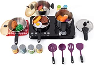 Kitchen Playset,32 Pcs Pretend Play Food & Cooking Toys for Toddlers,Toy Kitchen Sets with Stainless Steel Cookware Set,Pr...