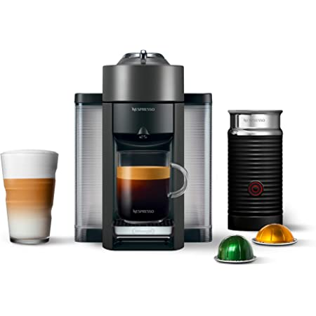 Nespresso Vertuo Coffee and Espresso Machine Bundle with Aeroccino Milk Frother by De'Longhi Graphite Metal