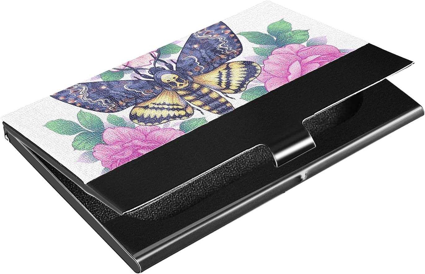 Save money Superlatite OTVEE Butterfly And Pink Flowers Sta Holder Business Card Wallet