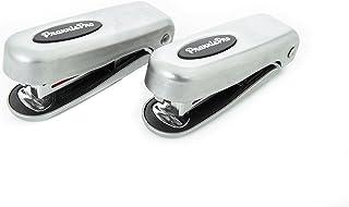 Stapler 1/4 Strip Mini Stapler Set, Built-in Staple Remover, 15-Sheet Capacity. Set of 2 (Brushed Nickel finish) PraxxisPr...