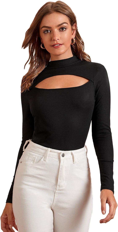 SweatyRocks Women's Leopard Print Cut Out Long Sleeve Slim Fit T Shirt Tops