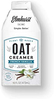 Elmhurst Plant Based Oat Creamer, French Vanilla, 16 Ounce (Pack of 6)