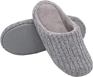 Womens Cotton Knit Memory Foam Slippers, Plush Fleece Lined, Anti-Skid Rubber Sole,Gray,S