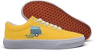 VCERTHDF Campervan On The Road Classic Skateboarding Shoes Men White