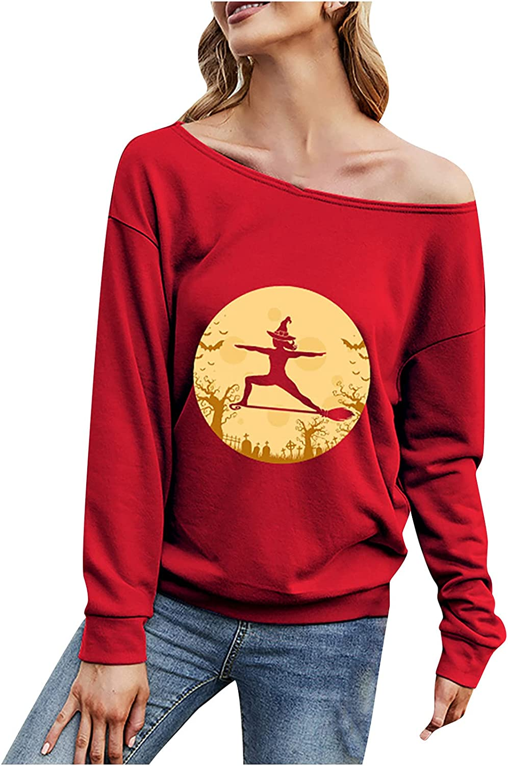 Halloween Sweatshirt for Women One Off Shoulder Tops Plus Size Long Sleeve Funny Print Pullover Casual Comfy Blouse