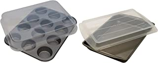 Mainstays Non-Stick 12-Cup Cupcake Pan with Lid bundle with Mainstays Non-Stick|13