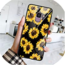 Fashion Personality Tempered Glass Flower Marble Phone Case for Samsung Galaxy S8 S9 S10 Plus S10e M10 M20 A30 A40 A50 A70 Note 8 9 TPU Coque Fundas,A70,heidixrk