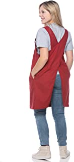 SMN Goods Premium Soft Cotton/Linen Blend Apron - Cross Back Apron, X-Shaped Apron, Japanese Apron, Perfect for Kitchen, Gardening, and Daily Chores. (Red, Plus)