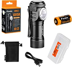 Fenix LD15R 500 Lumen Right-Angle White & Red LED Rechargeable Mini Flashlight with Rechargeable Battery & LumenTac Batter...