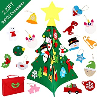 OurWarm 3D Felt Christmas Tree for Kids, 2.23ft Toddler Christmas Tree with 30 Pcs Glitter Ornaments and Buggy Bag for Xmas Gifts Home Wall Hanging Decorations Party Supplies