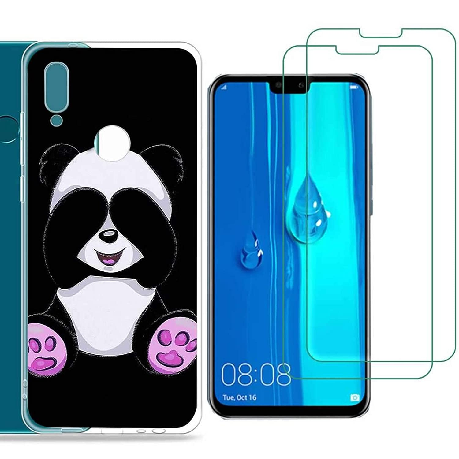Huawei Y9 2019 Case with 2 Pack Glass Screen Protector Phone Case for Men Women Girls Clear Soft TPU with Protective Bumper Cover Case for Huawei Y9 2019-panda