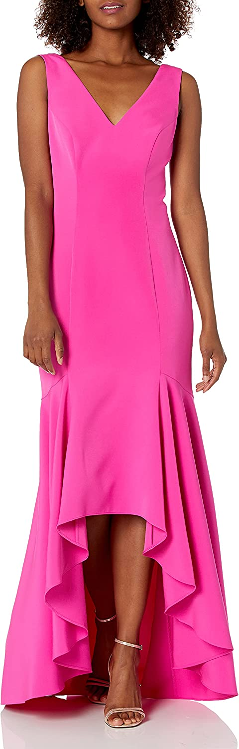 Vince Camuto Women's Sleeveless V-Neck High Low Gown