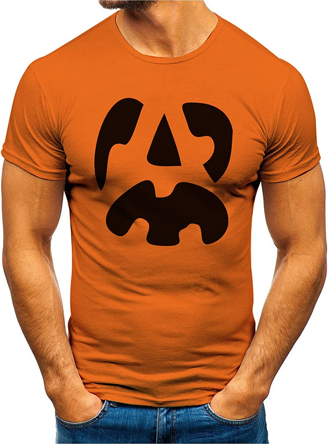 Halloween T-Shirt Funny Pumpkin New product!! Evil Deluxe Tops Face Short Print Smile