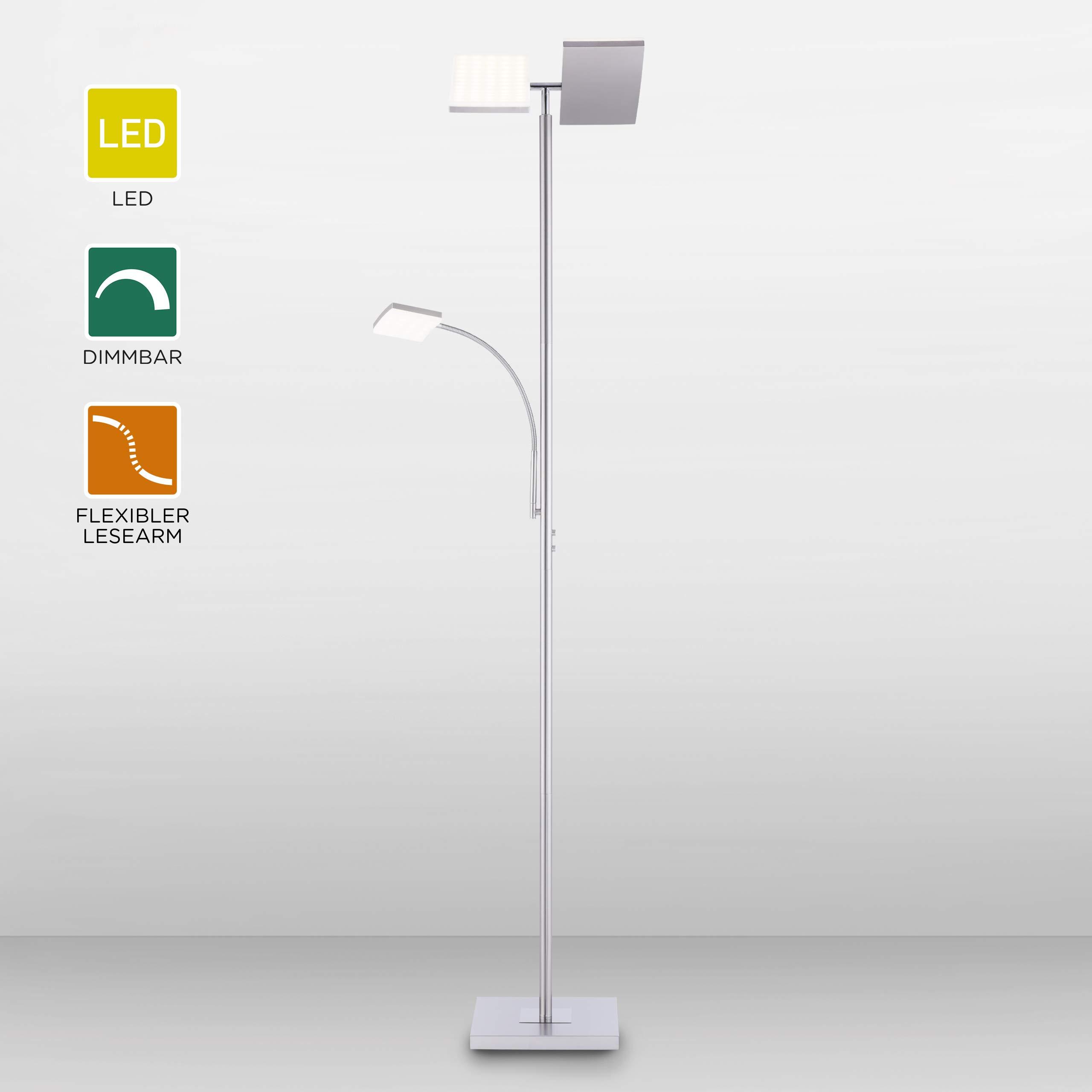 LED Stehlampe dimmbar  Deckenfluter mit flexibler Leselampe aus Edelstahl   Moderne Stehleuchte mit Tastdimmer  warmweißes Licht, 16 Lumen für