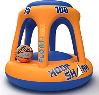 Swimming Pool Basketball Hoop Set by Hoop Shark - Orange/Blue 2020 Edition - Inflatable Hoop with Ball Included - Perfect ...