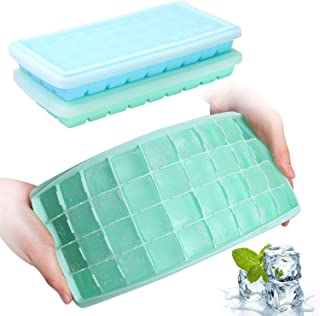 Ice Cube Trays with Lids, GDREAMT 2 Pack Silicone Ice Cube Trays Flexible and Easy Release 36 Ice Cube Molds for Whiskey, ...