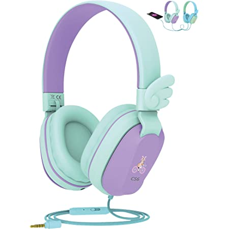 Riwbox CS6 Lightweight Foldable Stereo Headphones Over Ear Corded Headset Sharing Function with Mic and Volume Control Compatible for iPad//iPhone//PC//Kindle//Tablet Kids Headphones Blue/&Green