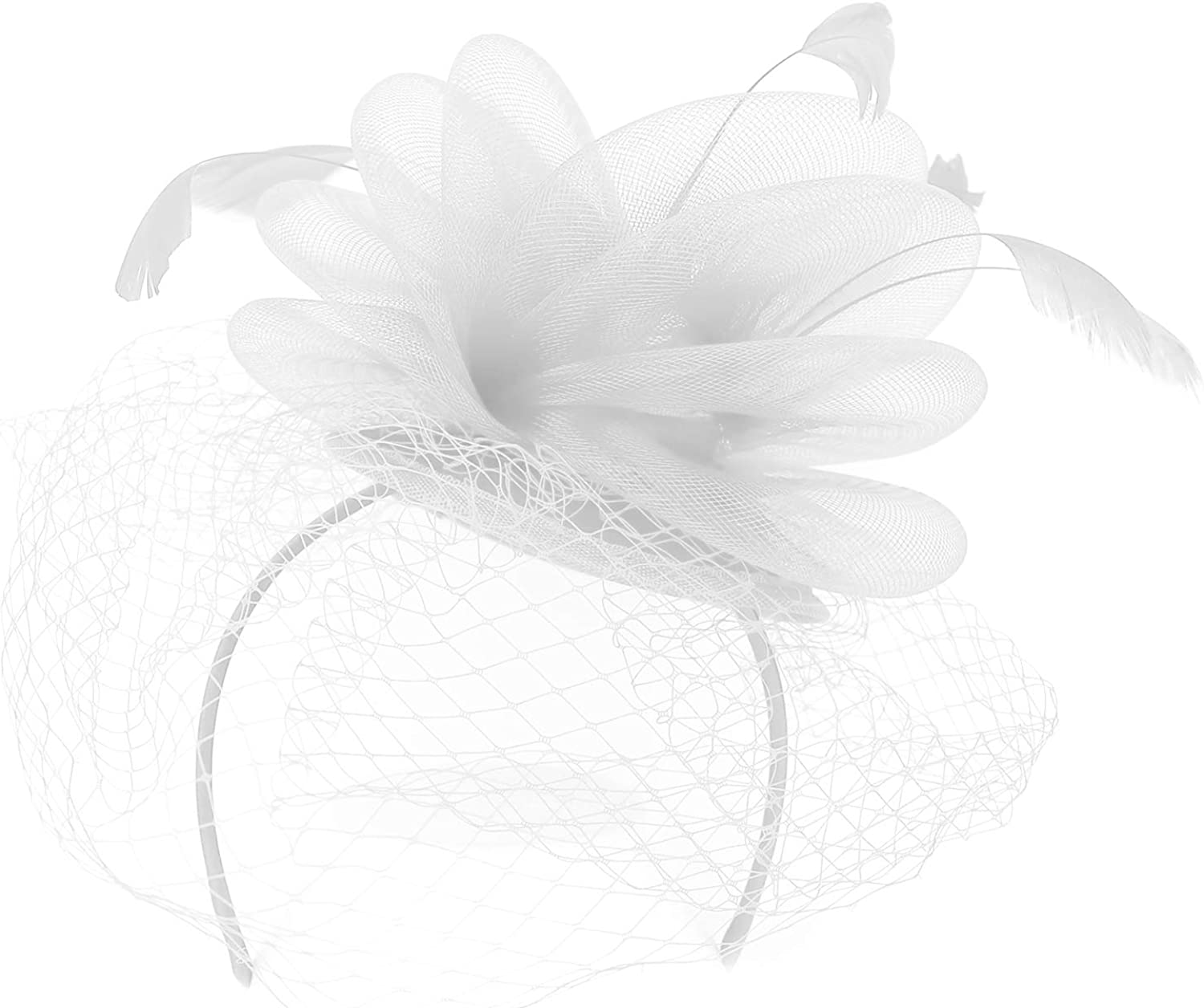 Trendy Apparel Shop Mesh Net Overlay Feather Horsehair Layered Fascinator