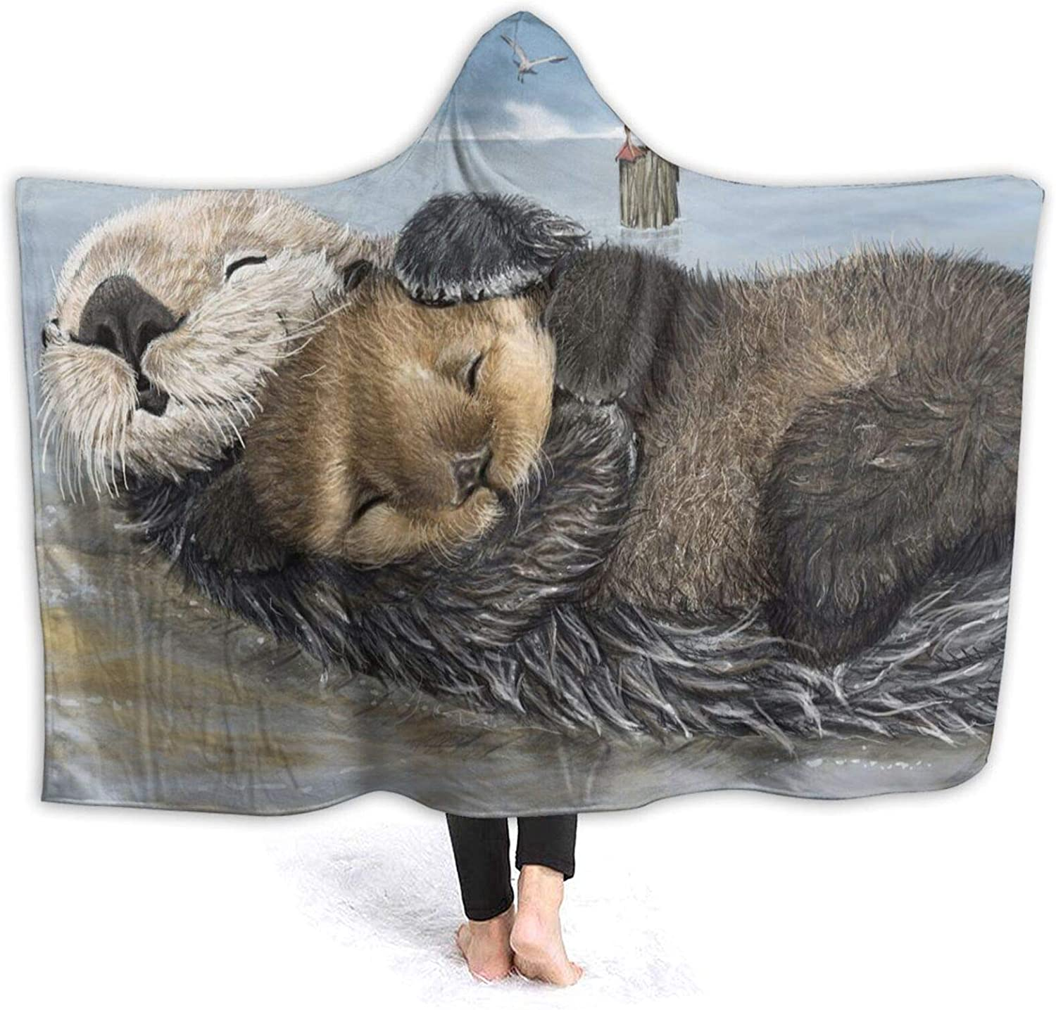 Cute Sea Sale price 5 ☆ very popular Otters Hooded Blanket Bl Throw Air Conditioning