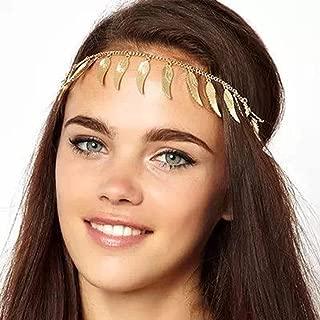 Jovono Head Chain Hair Accessories Bohemian Hair Band Gold Feather Headpiece Headband for Women