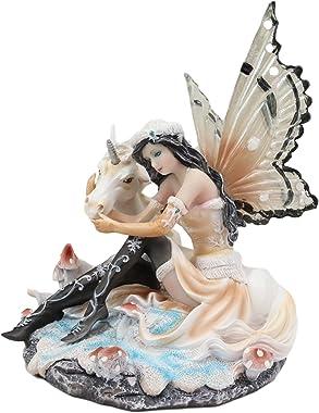 "Ebros Gift Winter Snow Butterfly Fairy with Rare White Unicorn On Toadstool Mushrooms Nursery Statue Decor 6.5"" Long Unicorns"