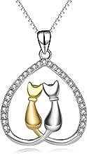 YFN Jewelry 925 Sterling Silver Two-Tone Eternal Love Heart Pet Cat Pendant Necklace Jewelry for Women